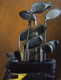 Golf Painting, Golf Art, Vintage Golf, Art Programs, Golf Clubs, Still Life, Special Gifts, Fashion Art, Gift Guide
