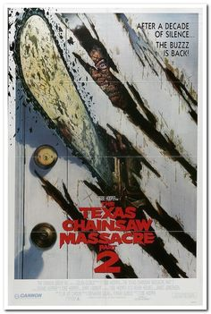 TEXAS CHAINSAW MASSACRE 2 - '86 original 27x41 movie poster DENNIS HOPPER - door