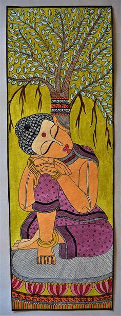 Madhubani Painting buddha on Handmade Paper with Acrylic Paint | Etsy Madhubani Paintings Peacock, Kalamkari Painting, Madhubani Art, Indian Art Paintings, Abstract Paintings, Oil Paintings, Budha Painting, Worli Painting, Fabric Painting