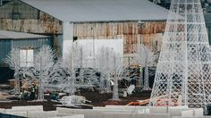 Constructing Christmas - Managed to get a view from the Cambie bridge of trees and other props being constructed for the Enchant Christmas Maze & Market.