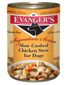 A grain free stew with diced meat and farm fresh vegetables are simmered in gravy for a delectable dinner. Evanger's Slow Cooked Chicken Stew is formulated to meet the nutritional levels established by the AAFCO nutrient profiles for all life stages. Chicken Stew is certified Kosher for Passover by the cRc. As with every product from Evanger's, the Signature Series meals for dogs are MADE IN THE USA, in the kitchens of Evanger's.