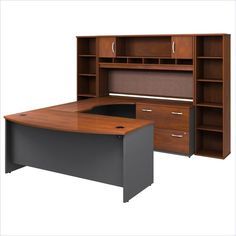 Bush Series C 6-Piece U-Shape Right-Hand Corner Desk in Hansen Cherry - BSC041-244  $1,600