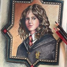 Hermione Jean Granger, finished. #harrypottercoloringbook #harrypottercolouringbook #hermione #prismacolorpencils #prismacolor #pentelmarkers #coloringbook #adultcoloringbook #coloringmeditation