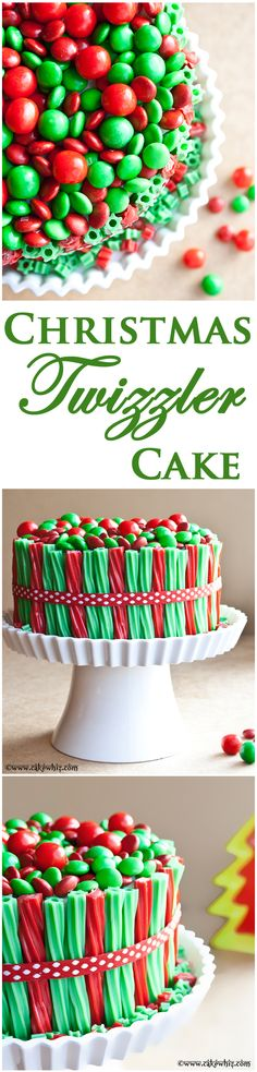Fun and colorful TWIZZLER & CANDY CAKE! So easy to make and great to serve at Christmas parties too! From cakewhiz.com