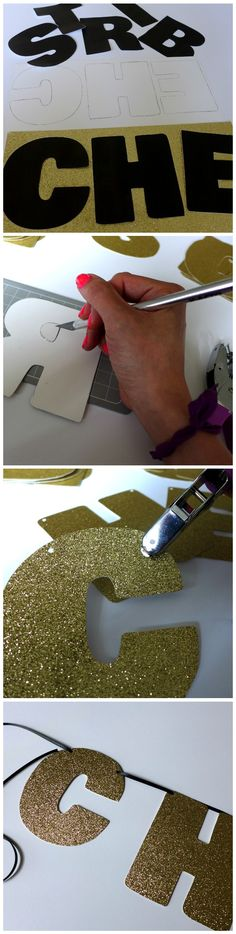 How to Make a Glitter Party Sign - Tutorial and Free Printable! Easy Glam DIY Party Decor from www.yayforhandmade.com