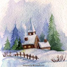 Pohľadnica Vianoce sneh kostolik  - vianoce, sviatky
