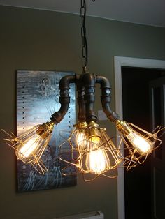 Steampunk Industrial Ceiling Chandelier Light Complete With Vintage Edison Bulbs