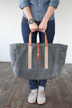 No 175 Tool / Garden Tote in Waxed Canvas by ArtifactBags on Etsy, $175.00