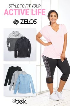 Stay strong and stylish all season in curvy activewear from ZELOS. Whether your workouts are in the studio or out on the trail, ZELOS has so many active styles to choose from. Up your activewear wardrobe game with printed leggings, graphic tees, colorful tanks, sports bras and more. Shop curvy fashion fit for your active life in store and online at Belk.com.