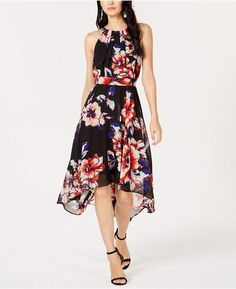 fdd00ff15b28d I.n.c. Petite Floral-Print Handkerchief-Hem Dress, Created for Macy's -  Black 0P - #created #dress #floral #handkerchief #petite #print - #Genel