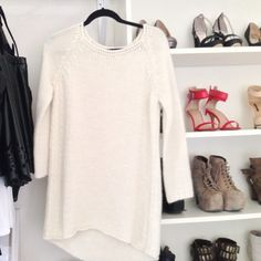 ⚠SALE⚠Long Zara Knit in cream! Super comfy New without tags! Never worn! NO TRADES, please do not even ask. I will not respond. Zara Sweaters