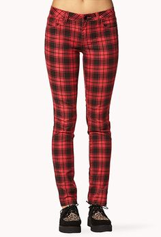 Red Multicolor Grunge Plaid Skinny Pants | FOREVER21 - 2078251130 $16 also in Gray/Black