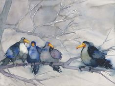 Råka söker maka Watercolor Artists, Watercolor And Ink, Flower Photos, Bird Art, Chinese Art, Artist At Work, Blue Bird, Painting & Drawing, Animals And Pets