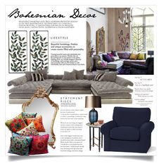 """""""Bohemian Decor 3562"""" by boxthoughts ❤ liked on Polyvore featuring interior, interiors, interior design, home, home decor, interior decorating, Old Hickory Tannery, L'Objet, Pottery Barn and Heathfield & Co."""