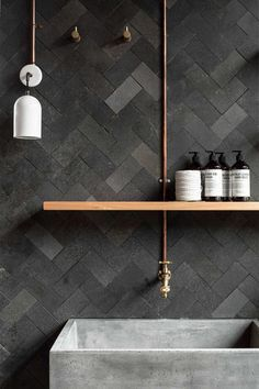 Bathroom Design . Interior . Masculine Style . Dark Tones . Decorative Wall . Urban Contemporary .