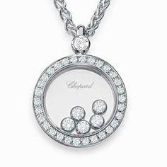 Vintage chopard 18k white gold diamond pendant necklace chopard floating diamonds necklace aloadofball Images