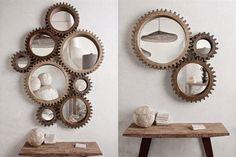 8 recursos para lograr el estilo industrial  Unos lindos espejos con marco en forma de rueda dispuestos de forma ingeniosa generan el mismo efecto visual que las poleas y los sistemas de la maquinaria fabril.         Foto:Styleandfocus.com.au