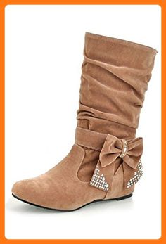 TOOGOO(R) Women's Fashion Mid High Flat Bowtie Slouch Boots Light Brown 36 (*Partner Link)