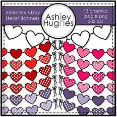 $ Valentine's Day Heart Banners: Graphics/Clipart for Commercial Use