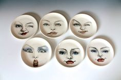 Woman Face Ring Dish Surprised Face Plate White by tjCervantesArt
