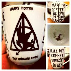 "Sharpie mug: after a lot of research, my fool proof plan: Bake 500 degrees for 30-45 min. it will lighten the color greatly. trace over and bake again. I did this cup 3 times. I have been using it since at work and it's perfect! Harry potter: ""I like my coffee Siriusly Black"" Hunger games: ""May the coffee be ever in your flavor"""