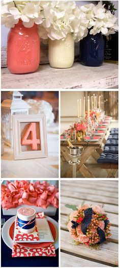 Navy + Coral wedding color palette. Great color combo.