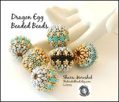 """Dragon Egg"" Beaded Bead tutorial by Sharri Moroshok. Free beaded bead tutorial available at participating Beadsmith bead shops."