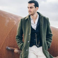 Men's Wool Green Slim Fit Long Office Coat   #casualstyle #layering  #streetfashion #urbanstyle #winterfashion  #menswear  #mensfashionstyle #woolcoat #italianfashion #antoniogatti #menscoat Fashion Men, Urban Fashion, Winter Fashion, Italian Fashion, Wool Coat, Layering, Men Sweater, Street Style, Slim