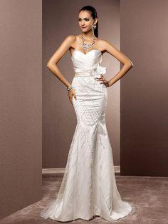 Lan Ting Trumpet/Mermaid Plus Sizes Wedding Dress - Ivory Sweep/Brush Train Sweetheart Satin/Tulle - USD $199.99