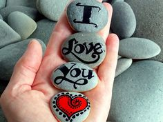 Painted Rocks / I Love You Magnets Set of 4 / Sandi Pike Foundas / Cape Cod Sea Stones Stone Crafts, Rock Crafts, Arts And Crafts, Diy Crafts, Hand Crafts, Pebble Painting, Pebble Art, Stone Painting, Hand Painted Rocks