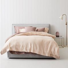 """Our new bed linen featured here in """"Peony  Rose"""" colours- Available in store and online. #urbancouturedesigns #linenbedding #beddinglinen"""