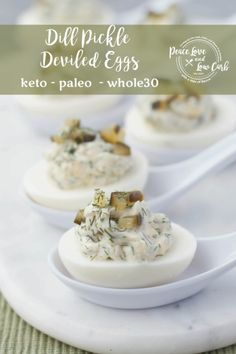 Whether you have an abundance of hardboiled eggs left over from Easter, or you just need a quick appetizer to bring to a summer cookout, these Dill Pickle Deviled Eggs are the perfect option. Pickled Deviled Eggs Recipe, Keto Deviled Eggs, Scrambled Eggs, Low Carb Recipes, Real Food Recipes, Ketogenic Recipes, Paleo Recipes, Egg Calories, Best Egg Salad Recipe