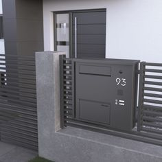 JU Zaunbriefkastenanlage mit Kamera, LED beleuchteter Hausnummer und Sprechfeld JU fence mailbox system with camera, LED illuminated house number and speech field Front Wall Design, House Fence Design, Door Gate Design, Front Porch Design, Garage Design, Cottage Signs, Beach Cottage Decor, House Number Plaque, House Numbers