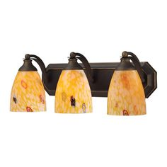 Bath And Spa 3 Light Vanity In Aged Bronze And Yellow Glass 570-3B-YW