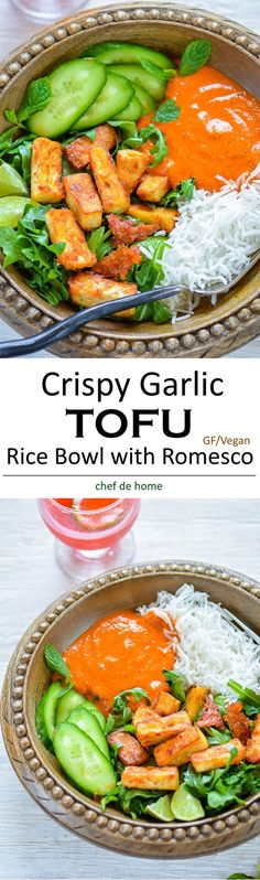 Crispy Garlic Fried Tofu with rice arugula and romesco sauce a gluten free and vegan summer dinner | http://chefdehome.com