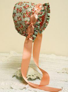 Peach Roses baby bonnet -- infant. photo prop. baby hat. summer bonnet. prairie bonnet. child. shower.gift. orange. green vintage feel. girl...