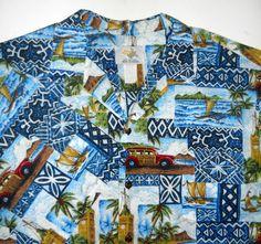Mens Hawaii Print Shirt Sz XL Ho Aloha Woody Wagon Sailboat Aloha Tower USA Made