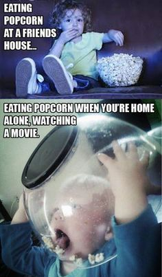 Funny memes eating popcorn at a friends house