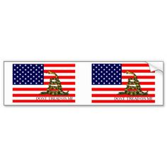 Old Glory / Gadsden Flag Combo Bumper Stickers