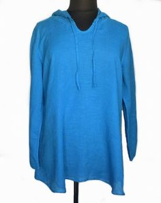 FLAX Designs Bold Hooded Tunic in Ocean Blue Linen Gauze L Large NWOT #FLAX #Hoodie #Casual