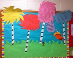 """""""The Lorax"""" bulletin board!- This is adorable!such a great way to meal the learning objectives while celebrating Dr Seuss and The Lorax!"""