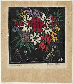 Artist: PRESTON, Margaret   Title: Waratah etc.   Date: 1925   Technique: woodcut, printed in black ink, from one block; hand-coloured   Copyright: © Margaret Preston. Licensed by VISCOPY, Australia