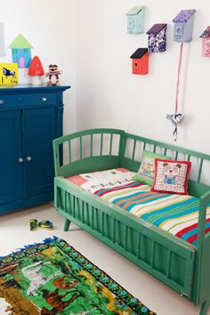 Jade green & blue kids room.