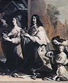 Louis XIII, Anne of Austria and the Dauphin, layer Louis XIV, praying before a representation of the Holy Family, circa 1639 by Justus van Egmont (1601-1674) (Louvre)