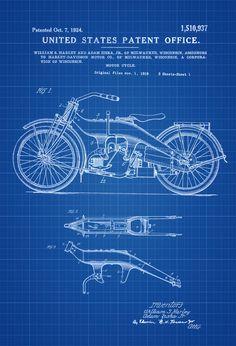 Harley Davidson Patent Print 2