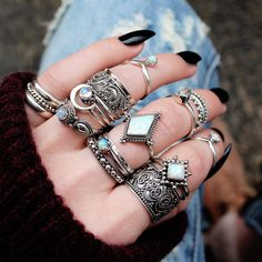 ∘⌲∘ ∘⌲∘ Repost if this is your dream stack! Shop now at / // shop dixi // shopdixi // boho // bohemian // grunge // hippie // ring goals // ring game strong // gypsy // grunge // opal // moonstone // midi rings Gypsy Style, Boho Gypsy, Hippie Style, Hippie Boho, Mode Hippie, Bohemian Mode, Grunge Hippie, Grunge Style, Black Grunge