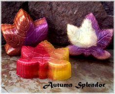 Autumn Leaf Glycerin Soap Set of 3 Glittering Fall Colors | Soapsmith - Bath & Beauty on ArtFire