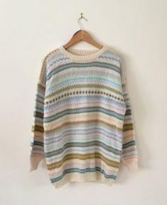 Vtg 80s Pastels Hand Knit Snuggly Wool Fair Isle Jumper Festival Land Girl M L ♡   eBay