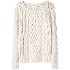 Boy by Band of Outsiders Chunky Cable Pullover ($273) ❤ liked on Polyvore featuring tops, sweaters, shirts, jumpers, white cable sweater, cable knit sweater, cable sweater, long-sleeve shirt and long sleeve sweater