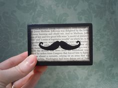 Mustache Picture Sign Wooden Block - Unique and Unusual - For Your Desk, Shelf, Office, Mantel, Bookcase, Dorm Room, Bathroom, Family Room